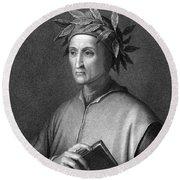 Italian Poet Dante Alighieri Round Beach Towel