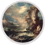 Italian Seascape With Rocks And Figures Round Beach Towel by Marco Ricci