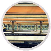 Italian Train Station Round Beach Towel