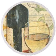 Italian Wine And Grapes 1 Round Beach Towel by Debbie DeWitt