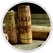 Italian Wine Corks Round Beach Towel