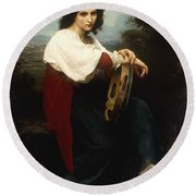 Italian Woman With A Tambourine Round Beach Towel by William Adolphe Bouguereau