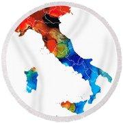 Italy - Italian Map By Sharon Cummings Round Beach Towel by Sharon Cummings