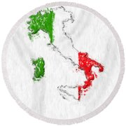 Italy Painted Flag Map Round Beach Towel