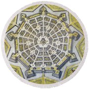 Italy: Palmanova Map, 1598 Round Beach Towel