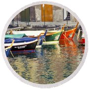 Italy Portofino Colorful Boats Of Portofino Round Beach Towel