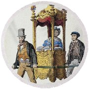 Italy Sedan Chair Round Beach Towel