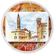 Italy Sketches Florence Towers Round Beach Towel