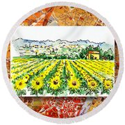 Italy Sketches Sunflowers Of Tuscany Round Beach Towel
