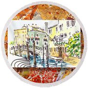 Italy Sketches Venice Canale Round Beach Towel