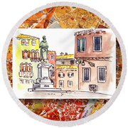 Italy Sketches Venice Piazza Round Beach Towel
