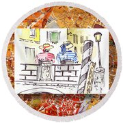 Italy Sketches Venice Two Gondoliers Round Beach Towel