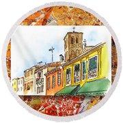 Italy Sketches Venice Via Nuova Round Beach Towel