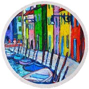 Italy - Venice - Colorful Burano - The Right Side  Round Beach Towel