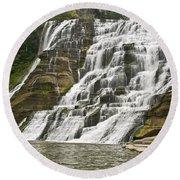 Ithaca Falls Round Beach Towel