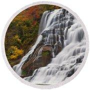 Ithaca Falls In Autumn Round Beach Towel