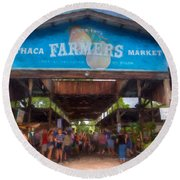 Ithaca Farmer's Market Round Beach Towel