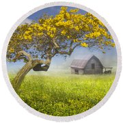It's A Beautiful Day Round Beach Towel by Debra and Dave Vanderlaan