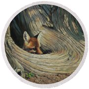 Fox - It's A Big World Out There Round Beach Towel