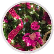It's A Pink Christmas Round Beach Towel