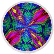 It's A Rainbow World Round Beach Towel