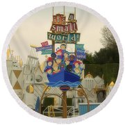 Its A Small World Fantasyland Signage Disneyland Round Beach Towel