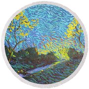 It's Just Over The Hill Round Beach Towel