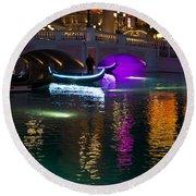 It's Not Venice - Brilliant Lights Glamorous Gondolas And The Magic Of Las Vegas At Night Round Beach Towel