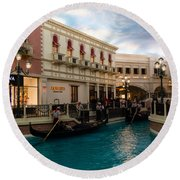 It's Not Venice - Gondoliers On The Grand Canal Round Beach Towel