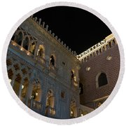It's Not Venice - The Famous Venetian Las Vegas At Night Round Beach Towel