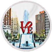 It's Only Love Round Beach Towel