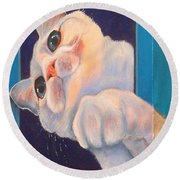 Ive Been Framed Side View Round Beach Towel