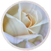 Ivory And Pink Abstract Rose Flower Round Beach Towel