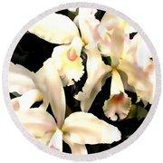 Ivory Cattleya Orchids Round Beach Towel