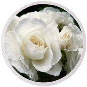 Ivory Rose Bouquet Round Beach Towel