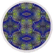 Ivy Abstract 1 Green Blue Round Beach Towel