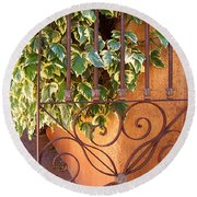 Ivy And Old Iron Gate Round Beach Towel