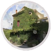 Ivy Covered Cottage Round Beach Towel