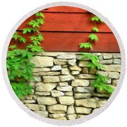 Ivy On Stone And Wood Round Beach Towel