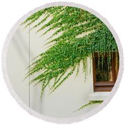 Ivy - Window Covered By Creeping Ivy. Round Beach Towel