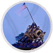 Iwo Jima Memorial At Dusk Round Beach Towel