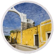 Izamal And It's Famous Arch Round Beach Towel