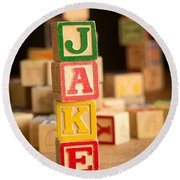 Jake - Alphabet Blocks Round Beach Towel
