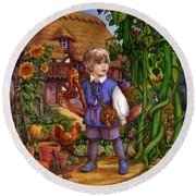 Jack And The Beanstalk By Carol Lawson Round Beach Towel