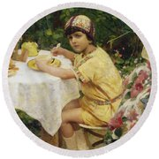 Jack In The Garden Round Beach Towel by Giacomo Grosso