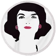 Jackie Kennedy Signature Pink Lips Round Beach Towel by Jost Houk
