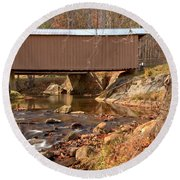 Jacks Creek Bridge Over Smith River Round Beach Towel