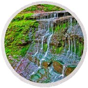 Jackson Falls At Mile 405 Natchez Trace Parkway-tennessee Round Beach Towel