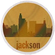 Jackson Mississippi City Skyline Watercolor On Parchment Round Beach Towel