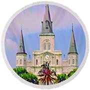 Jackson Square In The French Quarter Round Beach Towel